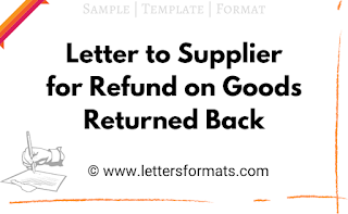 letter to supplier for return goods