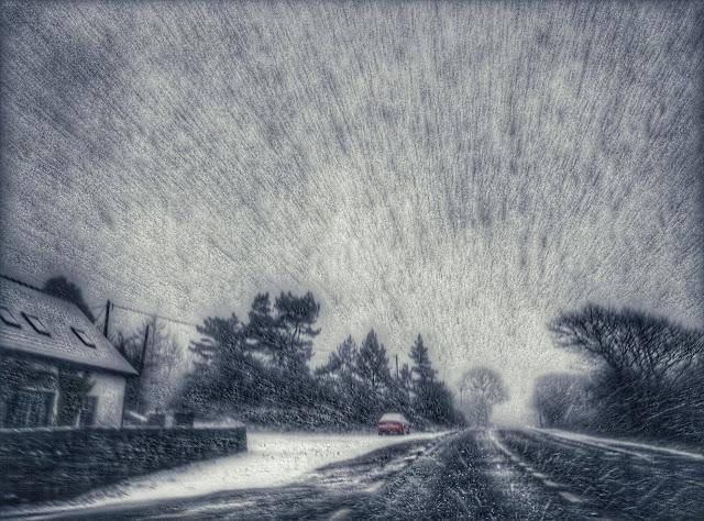 heavy snowfall, driving