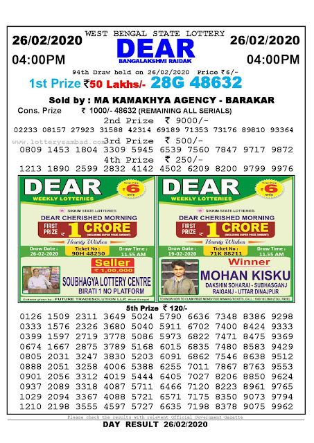 West Bengal State 26-02-2020  Lottery Sambad Result 400 PM