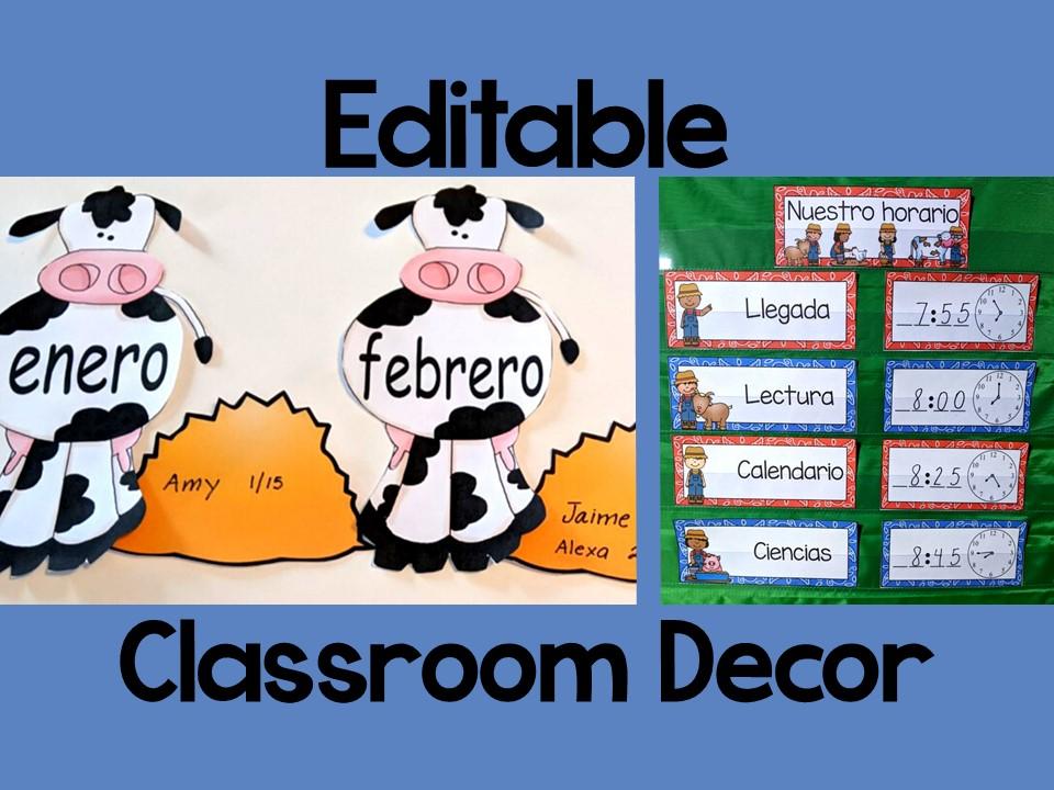 Classroom Decor in Spanish l Editable l BUNDLE l Farm Themed l Decoración