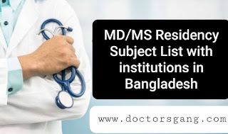 MD/MS residency BSMMU Subject List