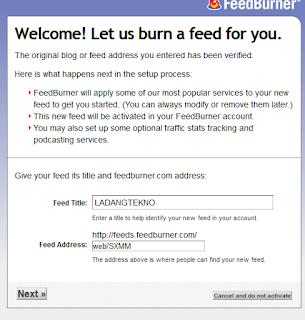 memasukan data feed burner