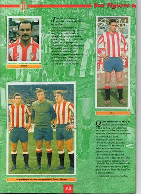 Hoja del álbum de cromos del Sporting de Gijón