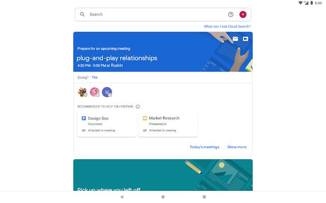 Google Cloud Search interface