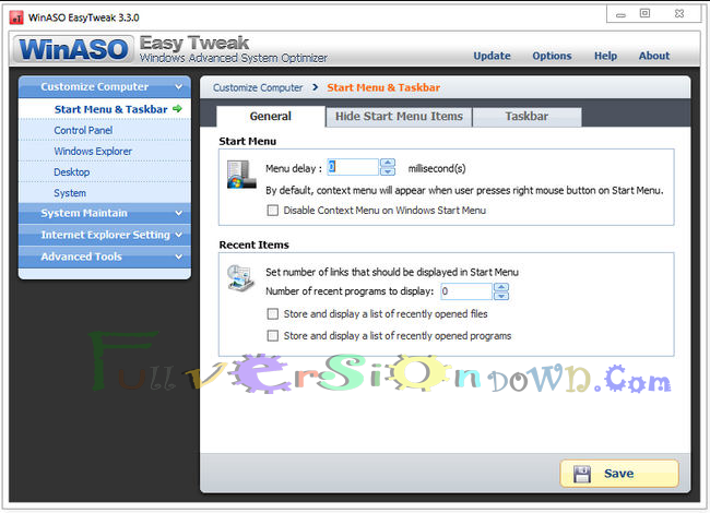 WinASO EasyTweak Full Version