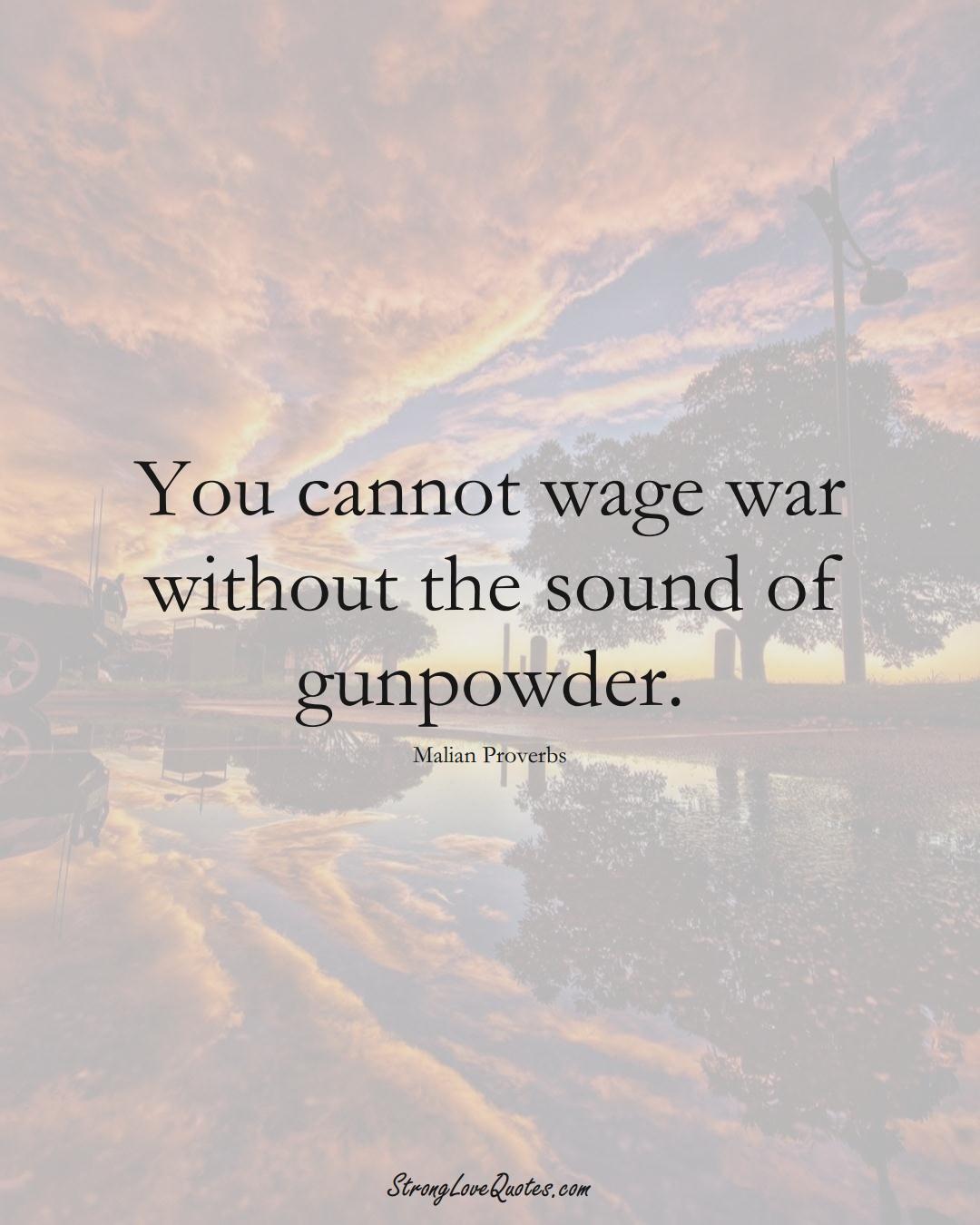 You cannot wage war without the sound of gunpowder. (Malian Sayings);  #AfricanSayings