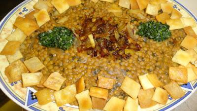 Lentil With Dough (Hara'a Ousba'ou) in a serving dish