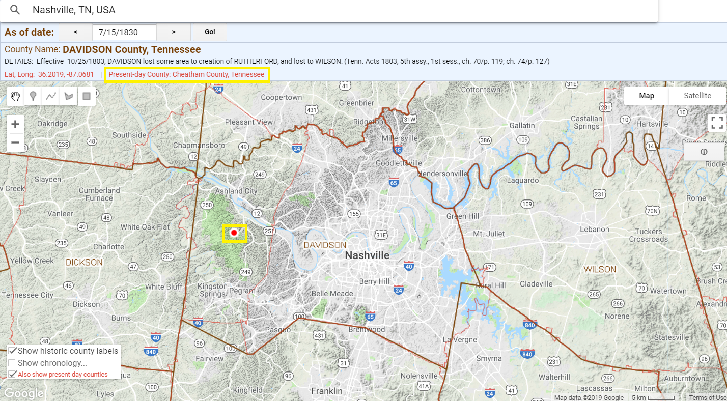 Present day Cheatham County on Historical US Counties on Google Maps tool, showing Nashville in 1830