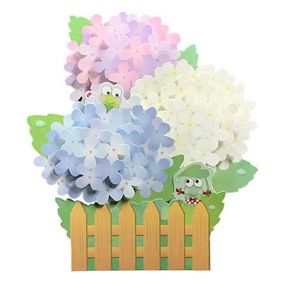 Luxuriant Hydrangea w/ Cute Frogs Pop Up Decorative Greeting Card