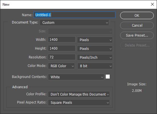 Cara mengatur dokumen baru di Photoshop