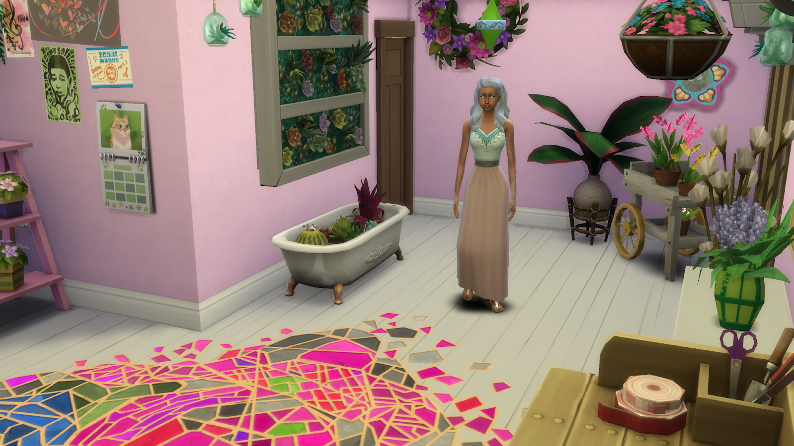 Screen grab of some game play from sims 4 - Sim standing in a room filled with flowers
