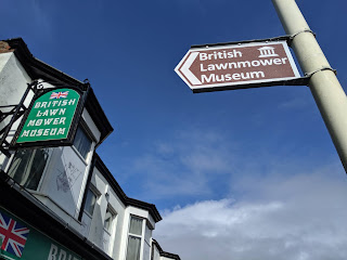 Signs outside the British Lawnmower Museum