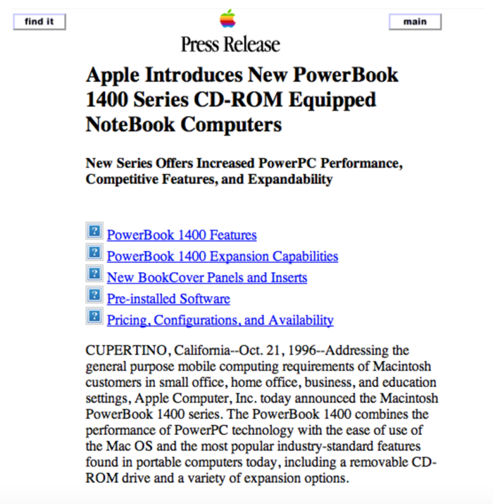 screenshot sito Apple 1996