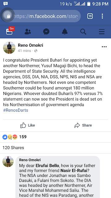 Reno Omokri Reacts To Buhari's Appointment Of Yusuf Magaji Bichi As New DSS Boss
