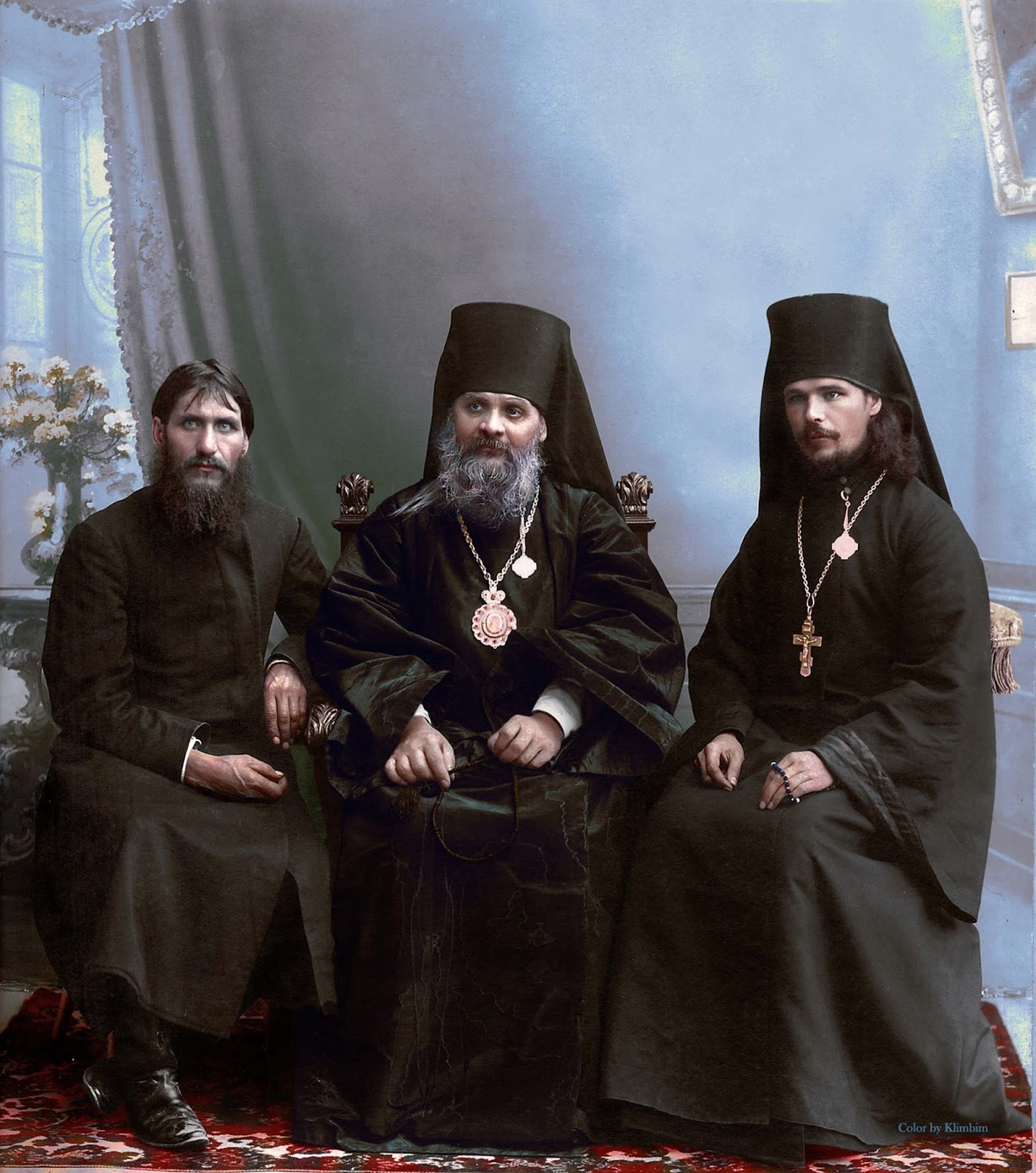 Rasputin, Hermogen and Iliodor next to each other in 1906. Within a few years the three men became bitter enemies.