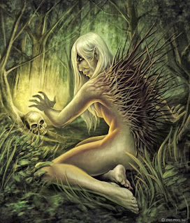 Huldra, a a forest demon looking like a beautiful woman with her back covered by tree branches