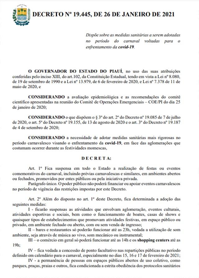 Novas medidas para conter avanço do coronavírus no Piauí vão vigorar até 21/2.