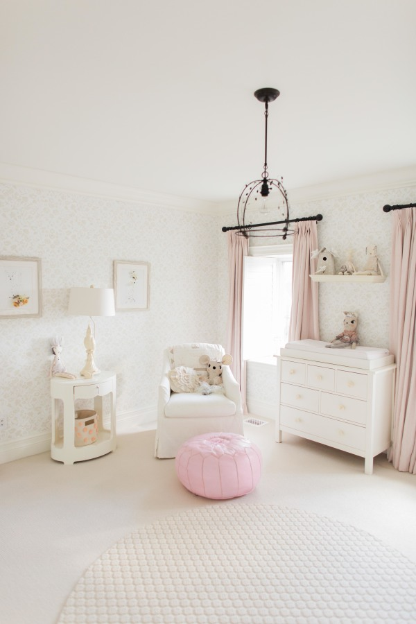 soft pinks and white nursery colors