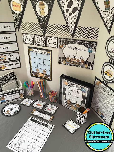 Are you planning a Mystery Detective themed classroom or thematic unit? This blog post provides great decoration tips and ideas for the best Mystery Detective theme yet! It has photos, ideas, supplies & printable classroom decor to will make set up easy and affordable. You can create a Mystery Detective theme on a budget!
