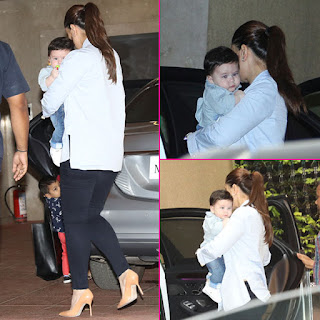 Kareena Kapoor Khan and Taimur Ali Khan snapped at Tusshar Kapoor's son Laksshya's birthday bash