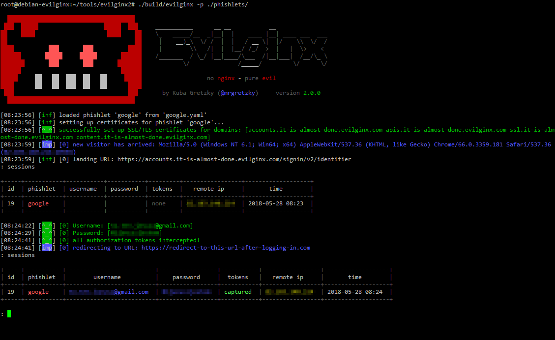 Evilginx v2.0 - Standalone Man-In-The-Middle Attack Framework Used For Phishing Login Credentials Along With Session Cookies, Allowing For The Bypass Of 2-Factor Authentication