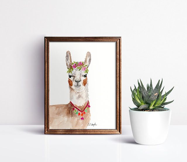 Boho Watercolor Llama Painting by Elise Engh