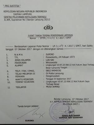 Surino Laporkan Musa Ahmad ke Polda Lampung