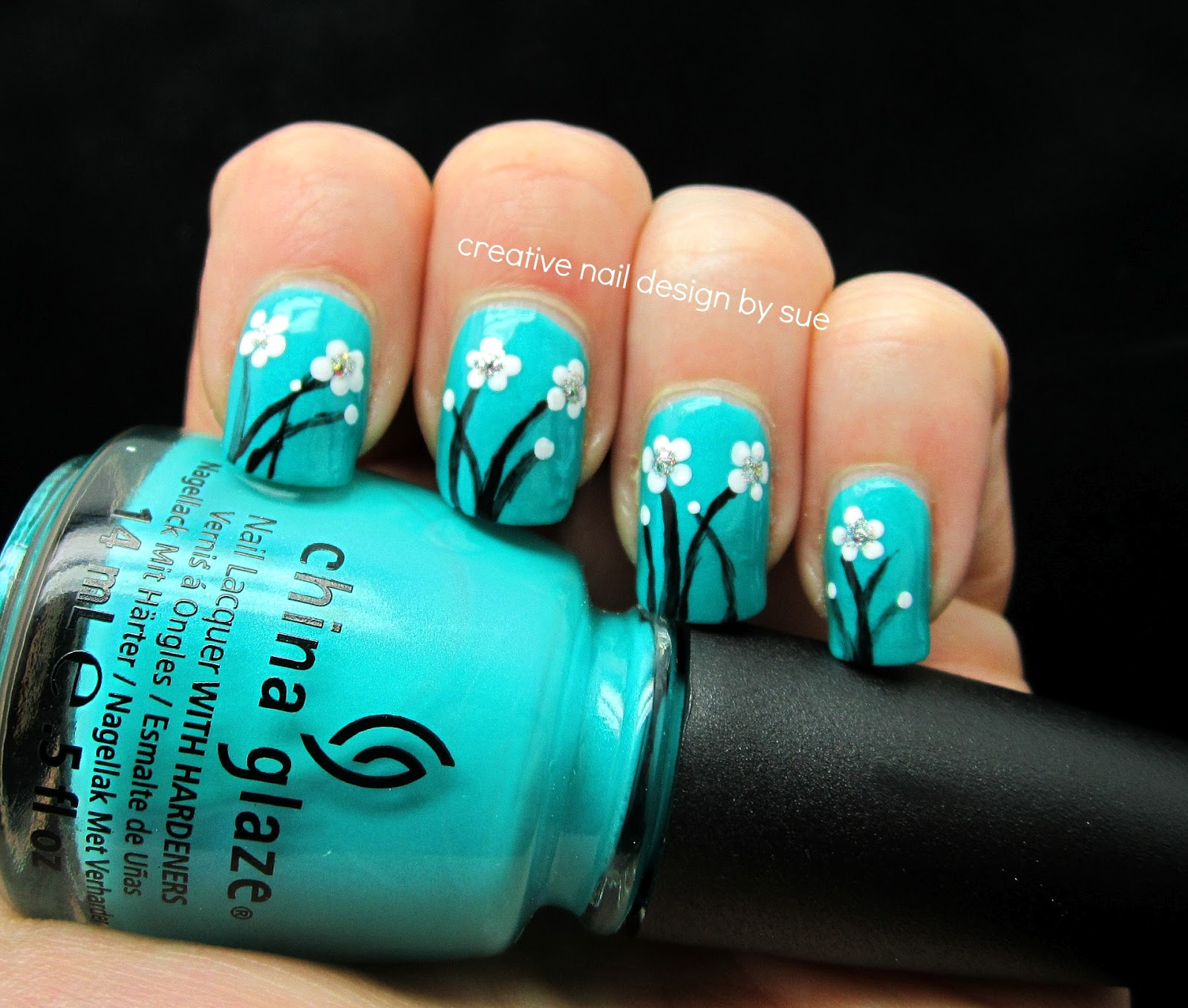 Creative Nail Design By Sue Cg Turned Up Turquoise With