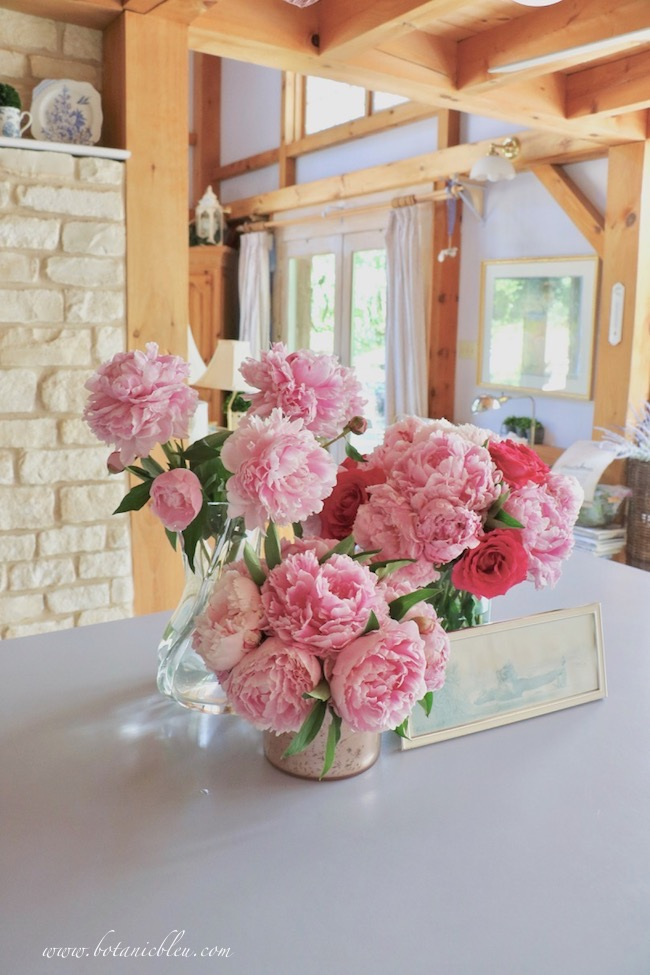 Romantic French country pink peonies can be seen from post and beam living room