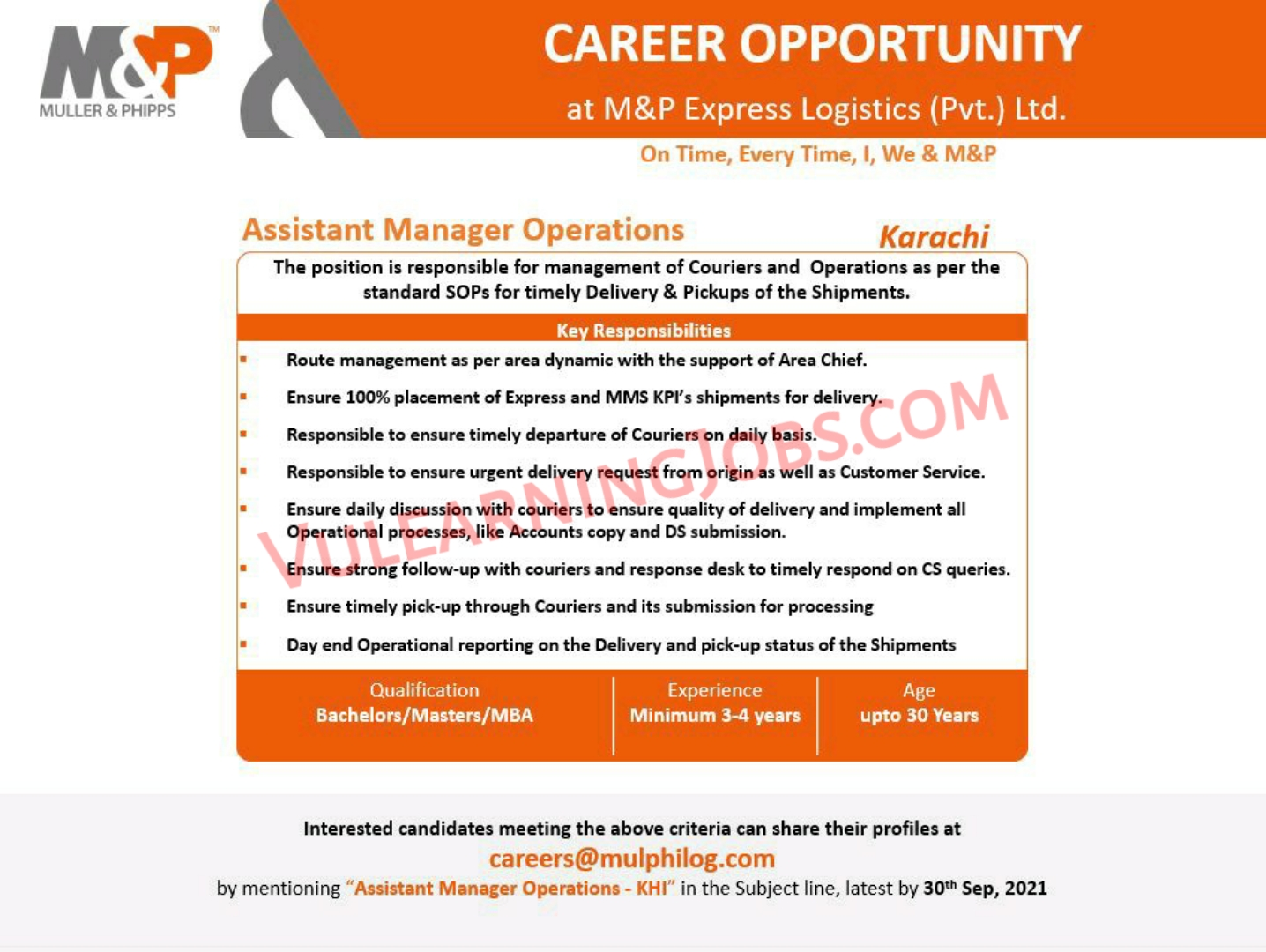 M&P Express Logistics Jobs September 2021 For Manager Operation Latest