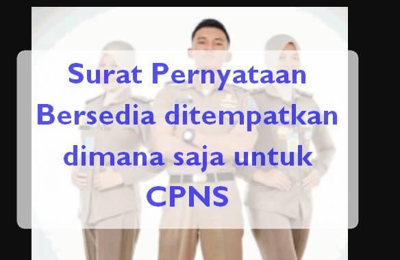 Surat Pernyataan Bersedia ditempatkan dimana saja untuk CPNS