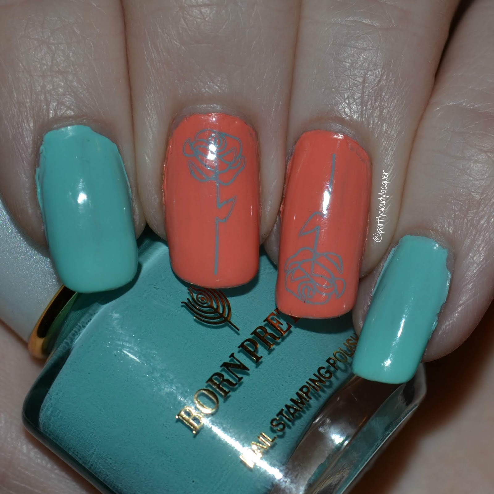 Partly Cloudy With A Chance Of Lacquer Mint And Peach Roses