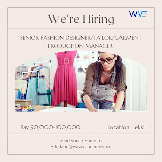 VACANCY ALERT FOR A SENIOR FASHION DESIGNER