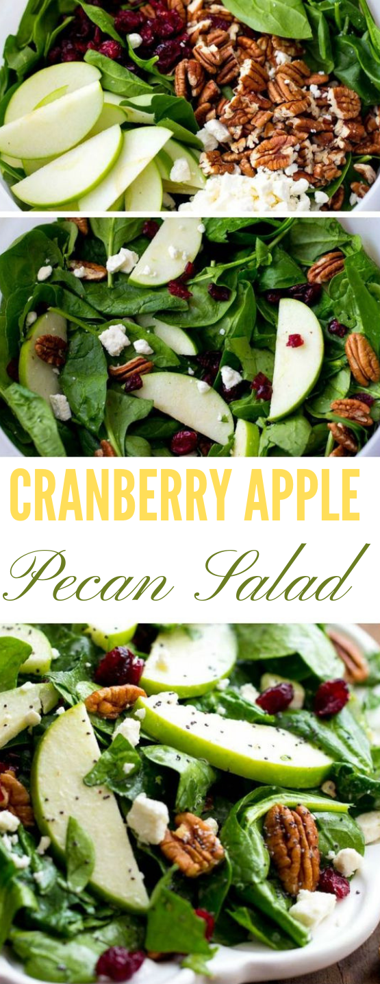 CRANBERRY APPLE PECAN SALAD WITH CREAMY POPPYSEED DRESSING #salad #diet