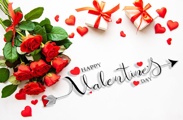 Valentine's Day roses and love red heart Image