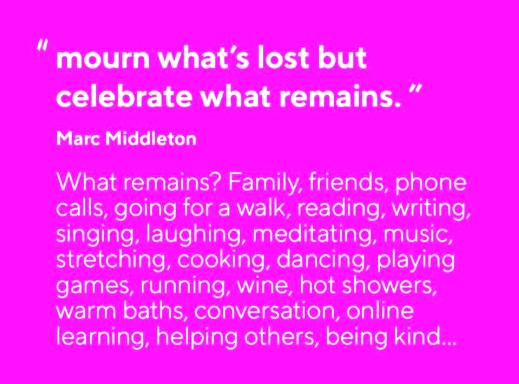 Mourn what's lost but celebrate what remains - Marc Middleton - #quotesdisappointment