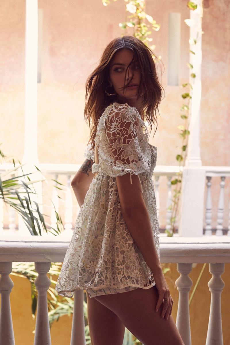 Isabeli Fontana wears Sundae dress in For Love & Lemons summer 2019 campaign