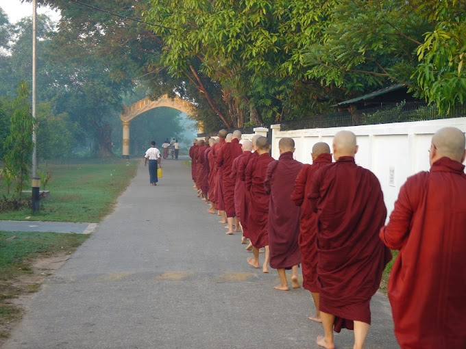 Dawn Meal offering of Buddhist Monk