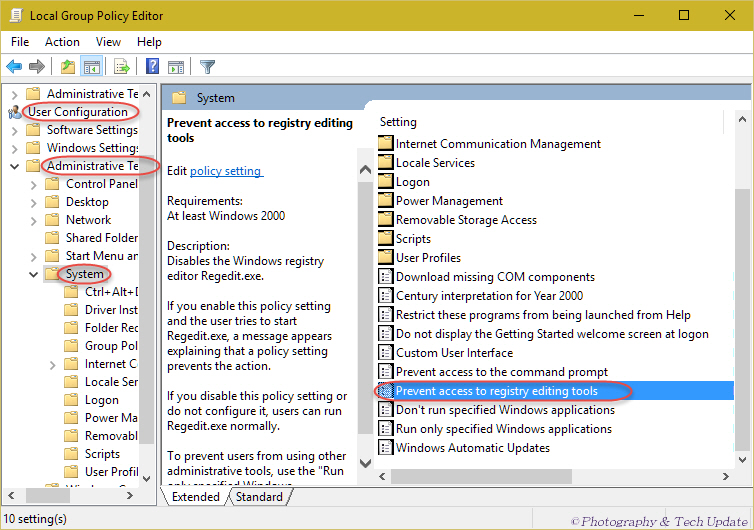 prevent access to windows registry editor - Registry