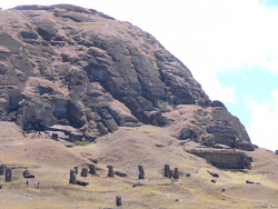 Upper and Lower Quarry, Rano Raraku Crater, Easter Island (note how small the Moai cluster appears)