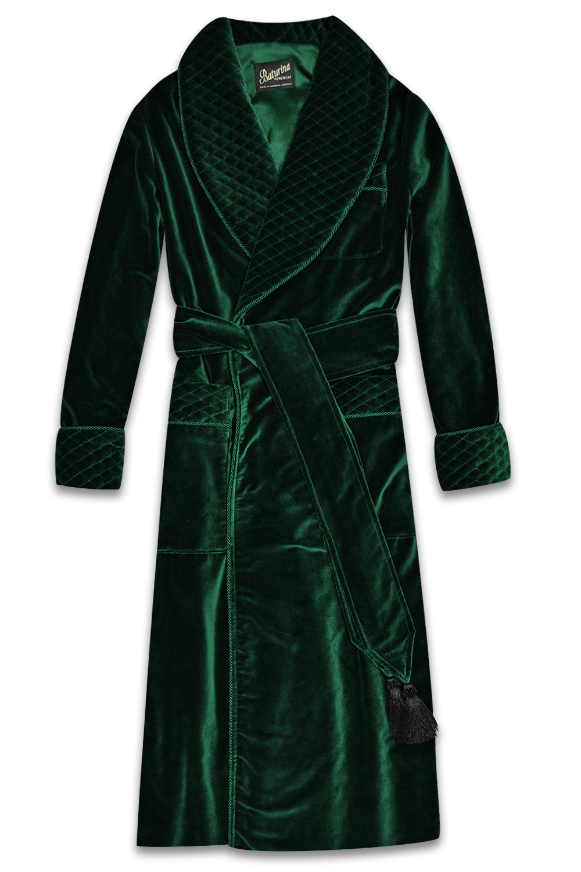 Mens Red Velvet Smoking Jacket Robe Quilted Silk Collar Burgundy Gold Dressing Gown Warm Luxury English Vintage Gentleman Monogrammed Robes