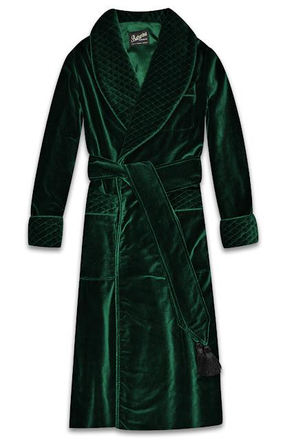 mens dark green velvet dressing gown smoking jacket quilted silk robe
