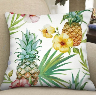 pillow. pillowcase. case, jastuk, jastučnica, decor, dekoracija, flowers, leaves, leaf print, uzorak, pineapple, ananas, ljeto, summer