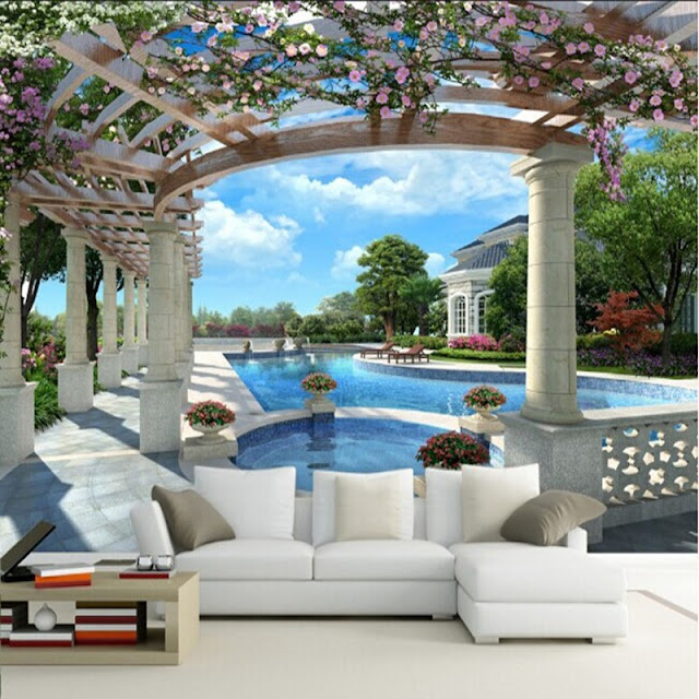 Garden wall murals 3D wallpaper living room bedroom Flower Garden green plants photo wallpaper pool