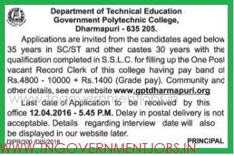 Applications are invited for Record Clerk Post in Govt Poly Technic College Dharmapuri