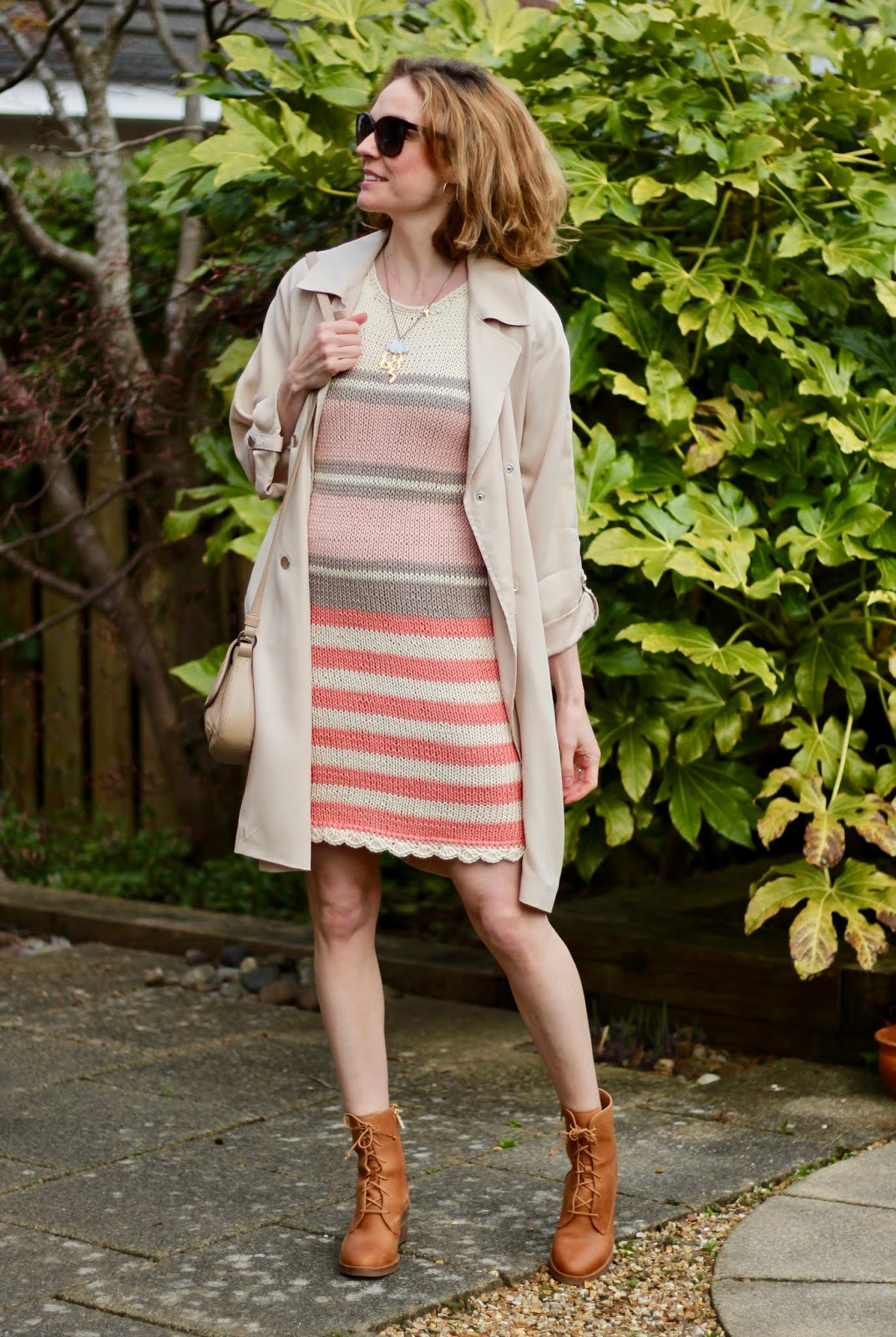 Handmade knitted dress | Beige toned spring outfit | Fake Fabulous