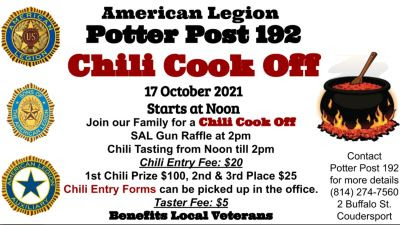 10-17 Chili Cook Off, Coudersport Am. Legion Post 192