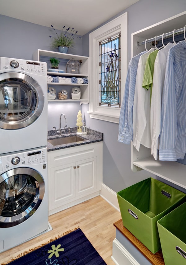 DIY Small Laundry Room Organization Ideas With Top Loading Washer 7