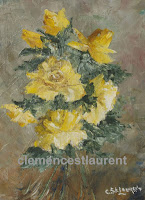 Des roses pour toi, gerbe de roses jaunes à l'huile, 8 x 6, par Clémence St-Laurent