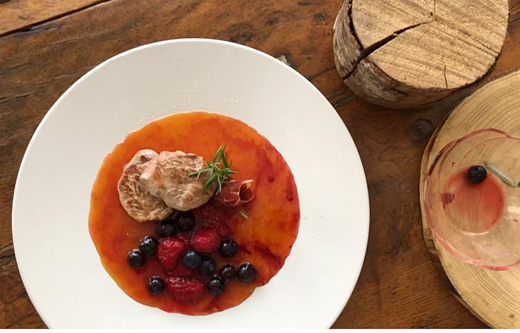 Solomillo ibérico con salsa de albaricoques y frutos rojos
